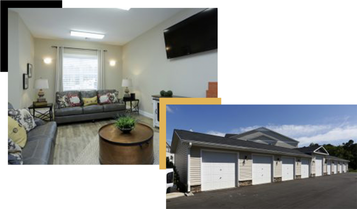 Image of the parking spots and a living room