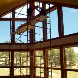 Filming the windows of a large mountain home in the Durango, Co area.