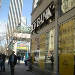 TCF Bank on 16th in Denver, Co with anti-graffiti window film from SunGlo Window Films.