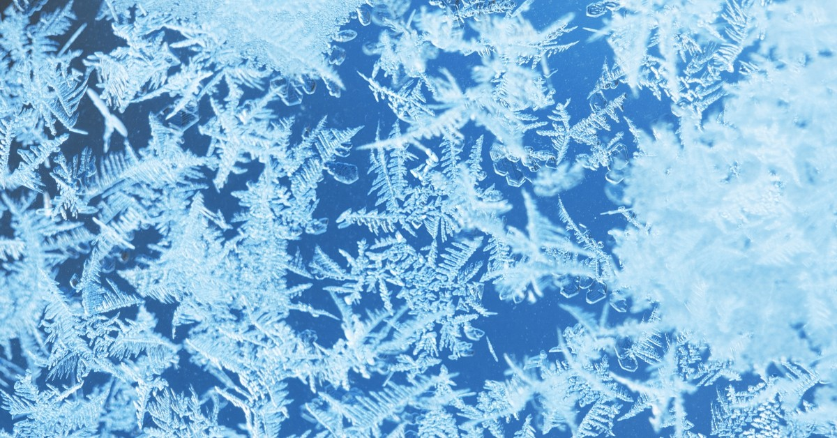 Closeup image of blue ice crystals