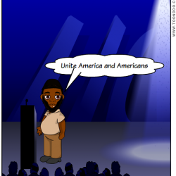 "Standing at the podium, Taxi Politician Akhtar Raqeeb in digital comic format says, ""Unite America and Americans"""