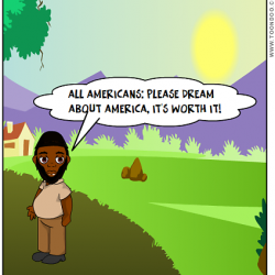 "Akhtar Raqeeb, the Taxi Politician, in a digital comic saying, ""All Americans: Please dream about America. It's worth it!"""
