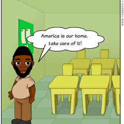 "A digital comic of Akhtar Raqeeb, Taxi Politician, in a classroom saying, ""America is our home. Take care of it!"""