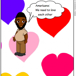 "Akhtar Raqeeb, Taxi Politician, in a digital comic with heart background calling Americans, ""Americans: We need to love each other."""