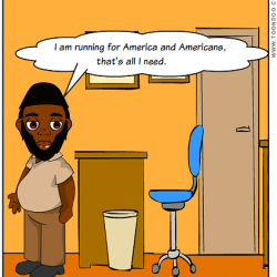 "Digital comic of Akhtar Raqeeb, Taxi Politician, in an office saying, ""I am running for America and Americans. That's all I need."""