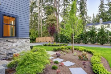 Home with beautiful landscaping