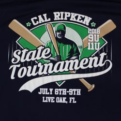 View our custom shirt design for the Cal Ripken State Tournament
