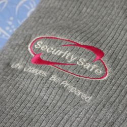 Custom embroidered beanies for Security Safe