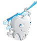 image of a cartoon molar scrubbing his back with a toothbrush