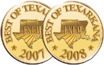 "image of two golden seals of approval for ""best of Texas"" for 2007 and 2008"