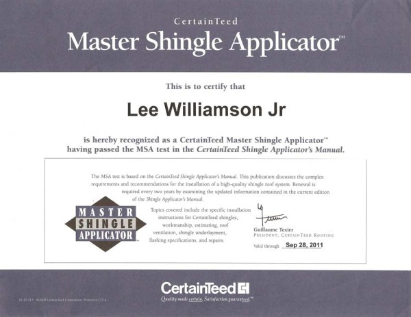 Lee Williamson, Jr.-CertainTeed