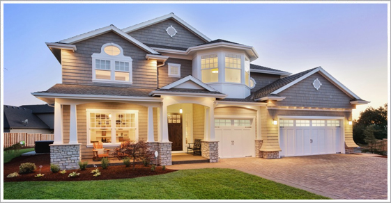 New Construction Home White Garage Doors
