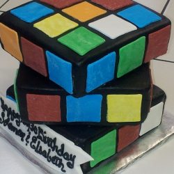 Rubics Cube Sculpted Cake