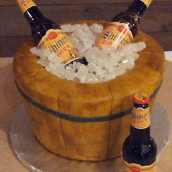 Barrel of Shiner Bock, Grooms Cakes, Dallas bakeries, fort worth cake bakery, bucket of beer cakes, cakes for weddings | Arlington, TX