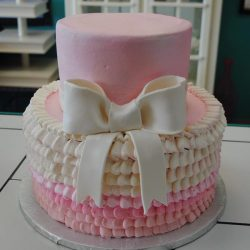 Pink Ruffled Cake, Baby Shower Cakes in Arlington, Dallas Baby Shower Cakes, Fort Worth Bakery