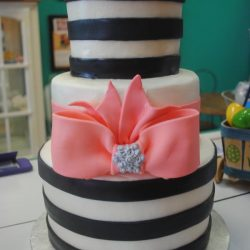 Black Striped Birthday Cake | Fort Worth Wedding Cakes