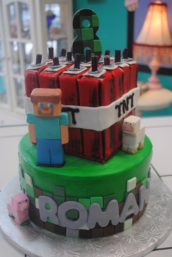 Black Lace TNT Cakes Minecraft Birthday