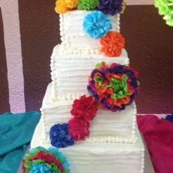 Square ruffled wedding cake | dallas wedding cake | fort worth wedding cake