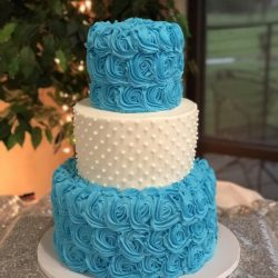 Blue Rosettes, Simple Birthday Cake, Dallas cakes, fort worth custom cakes, delicious cakes addison, sugar bee sweets