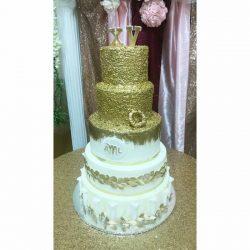 Gold Sequins Birthday Cake, Quince Cake, Dallas custom cakes, delicious cakes, plano custom cakes