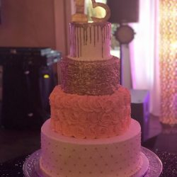 Quinceanera Custom Cake, Gold Cakes, Dallas Bakery, Grapevine Bakery, Custom Delicious Cakes, Sugar Bee Sweets