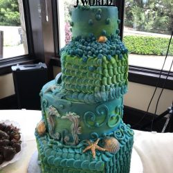 Custom Wedding Cakes, Fort Worth Cakes, Seahorse Wedding cake, Under the sea wedding