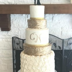 Gold Wedding Cakes, Rosette Wedding Cake, Fort Worth Wedding Bakery