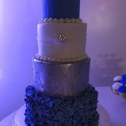 Royal Blue Sweet 16 Cake, custom delicious cakes, dallas bakery, silver quilted, ruffled birthday cake