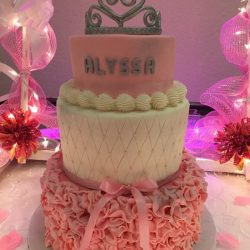 Pink and White Sweet 16 Cake, Delicious Cakes Dallas, Fort Worth Custom Cakes, Silver Crown Cakes