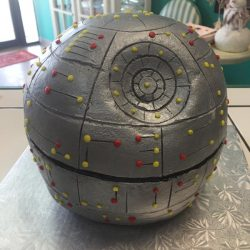 Death Star cakes, custom cakes dallas, star wars cakes, silver cakes, the london baker, sugar bee sweets