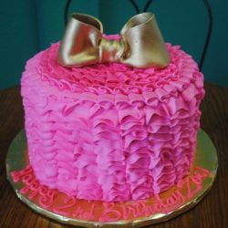 Girls birthday cake | pink ruffles cake | arlington bakery | gold bow birthday cake