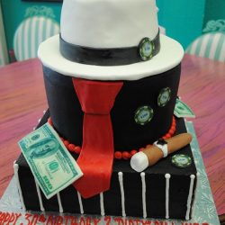 mafia-themed-cake-with-money-cigar-hat dallas cakes mafia theme cakes fort worth