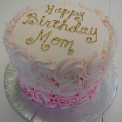 gold birthday cakes | mom birthday cakes | pink rosettes cake | arlington bakery
