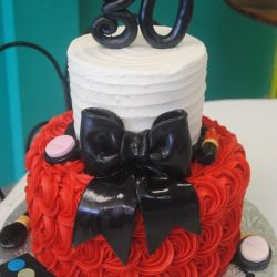 30th birthday cakes, red birthday cakes, rosette cakes, black and red, custom delicious cakes