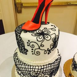 Black Lace cakes, elegant birthday cakes, high heel cakes, dallas birthday cakes, fort worth birthday cakes