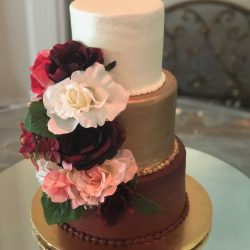 Gold Wedding Cakes, Maroon Wedding Cakes, Dallas weddings, fort worth weddings, floral weddings