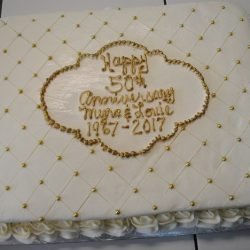 Anniversary Cakes | Gold Cakes | Quilted Cakes | Arlington Bakery, Custom cakes, gold sheet cakes
