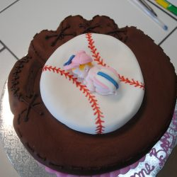baseball glove baby shower cake, custom shower cakes, arlington bakery, baseball glove