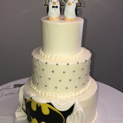Batman Wedding Cakes, DFW Weddings, Quilted Cakes, Custom Cakes in Dallas, White Wedding Cakes