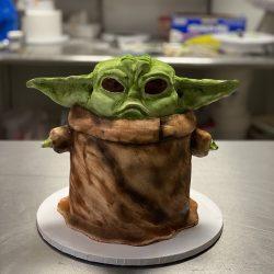 Baby Yoda Cakes, Dallas custom cakes, arlington custom cakes, 3D cakes, Yoda cakes, Star Wars cakes