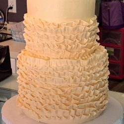 fondant ruffles, ivory wedding cakes, small wedding cakes, frisco wedding cakes, plano bakery, southlake bakery