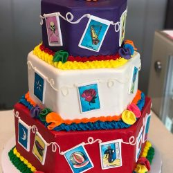 La Loteria Cake, latino card game, card game cakes, quinceanera cakes