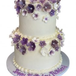 Purple Flowers Birthday Cake | Custom Cakes | Dallas Bakery, London Baker, Delicious Cakes