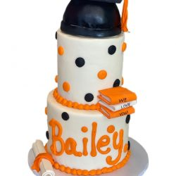 Orange & Black Graduation cake, UTA graduation cake, high school graduation cakes | Custom Cakes | Dallas Bakery