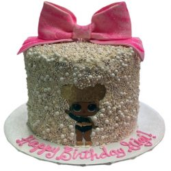 Birthday cakes for girls, pink bow cakes, LOL Surprise cakes, arlington bakery, dallas cakes, fort worth cakes