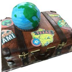 World travelers cake, custom suitcase cake, fort worth bakery, arlington bakery, wedding cakes, grooms cakes