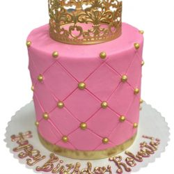 Small Pink Cakes, Gold Birthday Cakes, Quilted Birthday cakes, affordable birthday cakes, arlington bakery