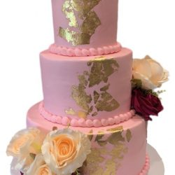 gold cakes, pink cakes, quincenera cakes, floral cakes, arlington custom bakery