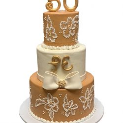 50th anniversary cakes, custom wedding cakes, gold and white cakes, dallas bakery, specialty bakery