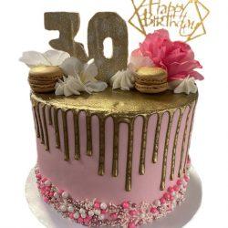 30th birthday cakes, gold birthday cakes, pink cakes, gold drip, arlington bakery, custom dallas bakery